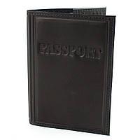 Обложка кожаная на загранпаспорт (черная), фото 1