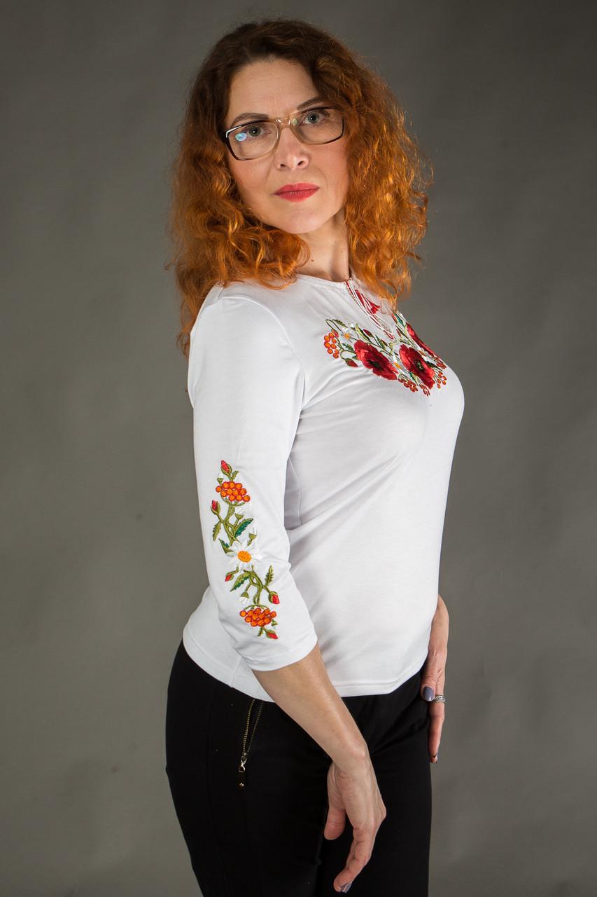 Жіноча вишиванка Маковий цвіт на білому - Інтернет-магазин