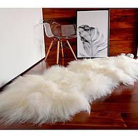 Килим з овчини ісландської породи білого кольору, з 2-х шкур