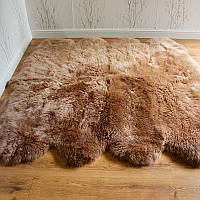Ковер из овчины коричневого цвета, из 8-ти шкур, фото 1