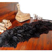 Килим з овчини ісландської породи чорного кольору, з 2-х шкур