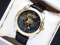 Механические часы скелетоны Слава Созвездие, золото, черный циферблат