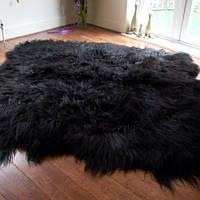 Ковер из черной исландской овчины, из 8 шкур