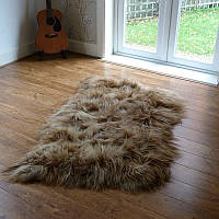 Ковер из исландской овчины коричневого цвета, из 3-х шкур, фото 1