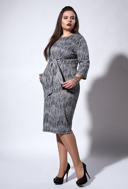"""Платье """"Алиса"""" размеры 52,54 серое в вертикальную полоску"""