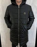 Куртка мужская Philipp Plein D2463 черная зимняя длинная