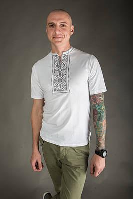 Чоловіча вишиванка Карпатська сіра на білому