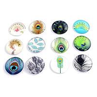 Кабошоны перо стеклянные, круглые, цвет микс, 5 штук в упаковке