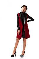 Женский кашемировый жилет с кожаными лацканами. Модель Ж002_бордо., фото 1