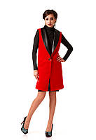Женский кашемировый жилет с кожаными лацканами. Модель Ж002_красный., фото 1