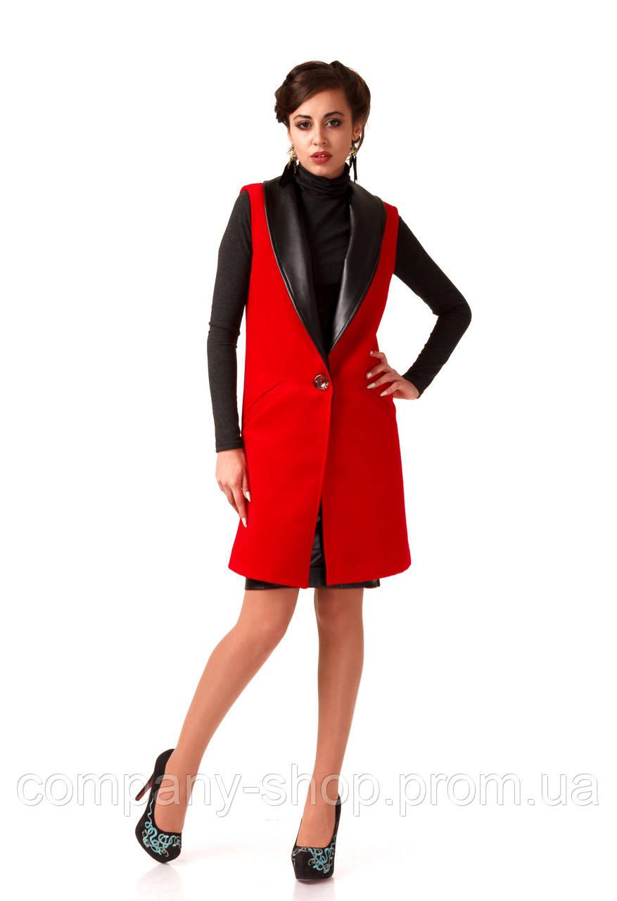 Женский кашемировый жилет с кожаными лацканами. Модель Ж002_красный.