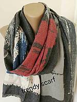 Женский Кашемировый шарф-палантин. Переходы Темно серый, красный, белый, бежевый,синий.190\70