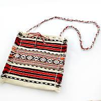 Тканевая женская сумка через плечо. Красного цвета, фото 1