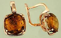 Золоті сережки  з кварцем