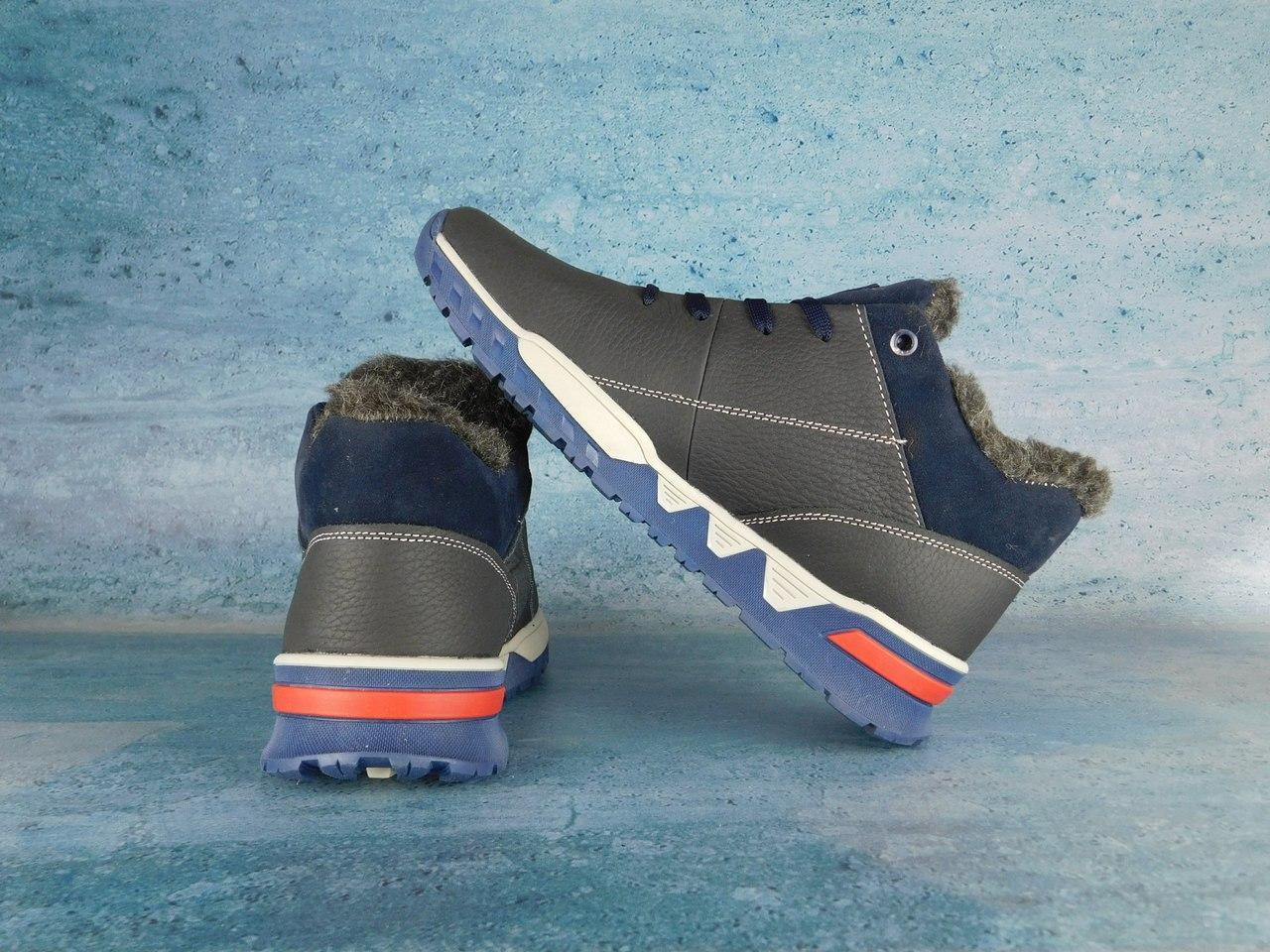 Мужские зимние кроссовки Adidas на меху,синие