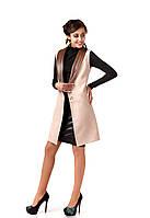 Женский кашемировый жилет с кожаными лацканами. Модель Ж002_светло бежевый., фото 1