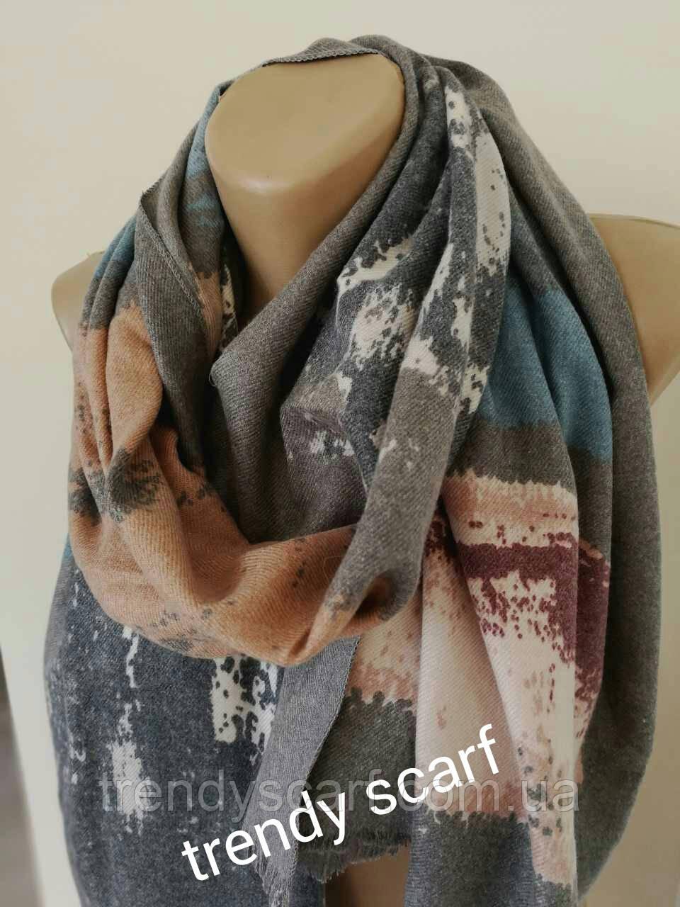 Женский Кашемировый шарф-палантин. Переходы Темно серый, бордовый, белый, голубой, оранжевый.190\70