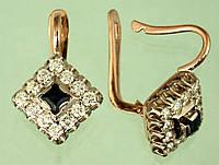 Золоті сережки  з діамантом та сапфіром