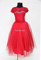 Платье детское нарядное Принцесска красное 6-8 лет