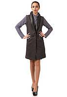 Женский кашемировый жилет с кожаными лацканами. Модель Ж002_серый., фото 1