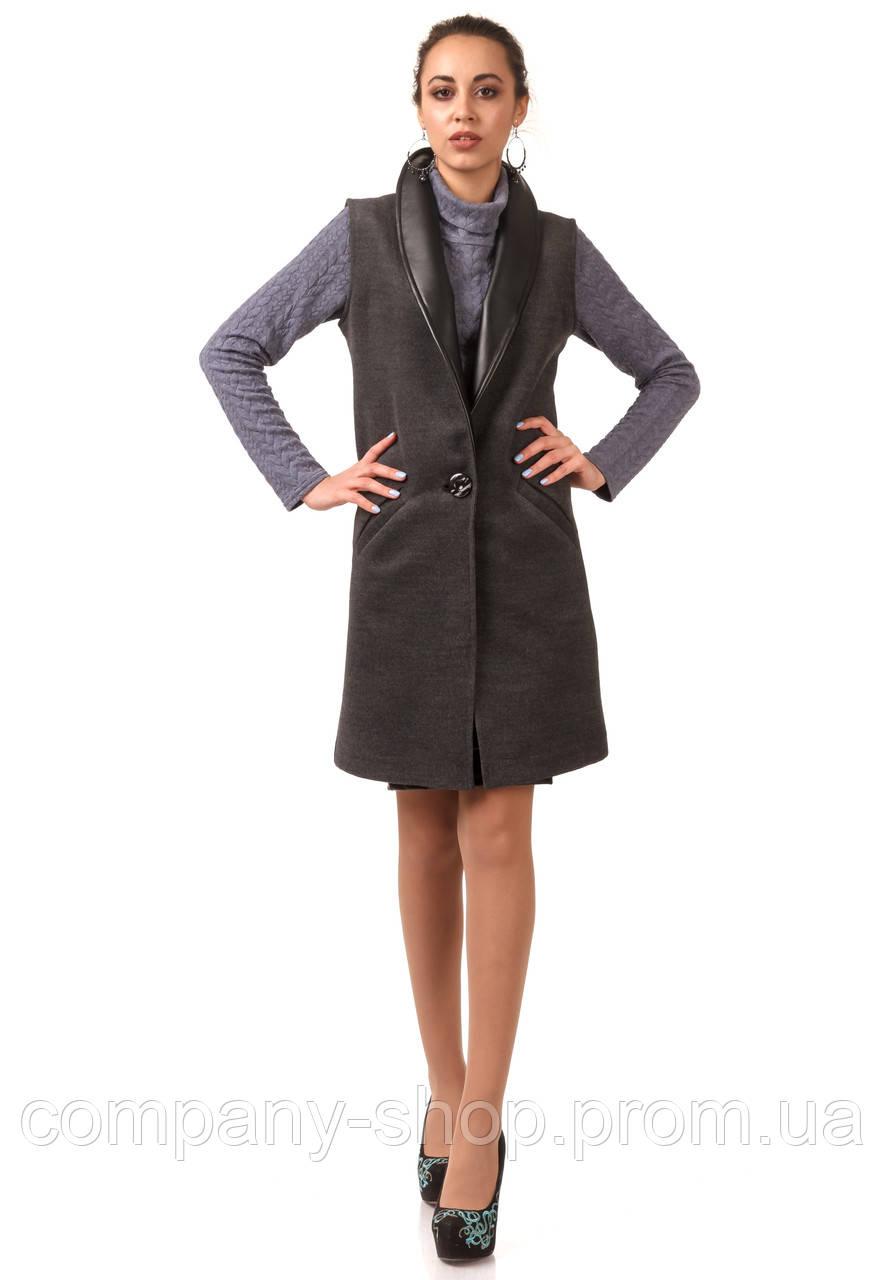 Женский кашемировый жилет с кожаными лацканами. Модель Ж002_серый.