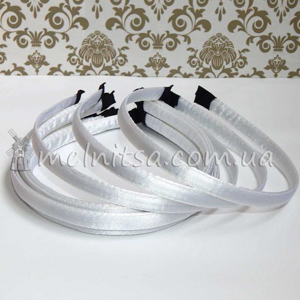 Обруч металлический в атласе, 1 см, белый