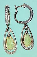 Золоті сережки  з діамантом та цитрином