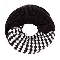 Стильный теплый вязанный женский шарф-хомут снуд с двойным типом вьязки черного с белым цвета