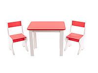 Стол деревянный и 2 стульчика красный 096 *фп