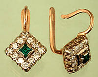 Золоті сережки  з діамантом та смарагдом