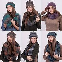 Вязаный женский комплект:шапка+шарф №3024