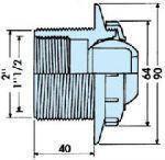 Боковая форсунка под плитку выпуклая, сопло 22 мм, фото 2