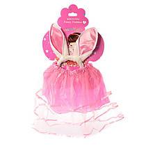 Костюм для девочки карнавальный Юбка розовая 28 см,обруч-ушки, в кульке53-26-1,5 см