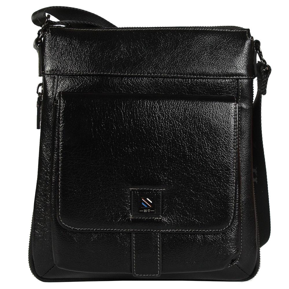 6a2a6e716c05 Качественная повседневная мужская кожаная сумка через плечо черная High  Touch HT007882-31 - e-