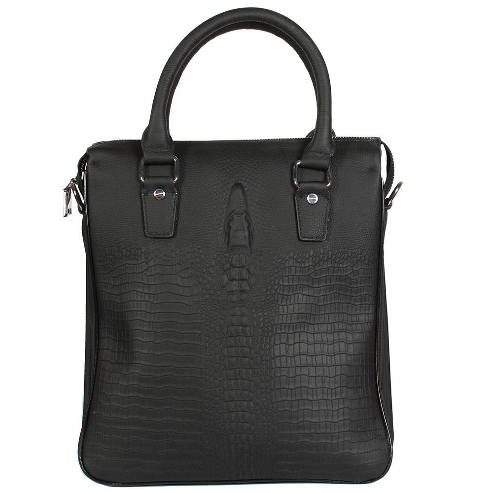 1312d16dffc3 Стильная кожаная сумка для документов под рептилию черная Tofionno TF008801- 11