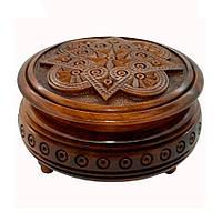 Шкатулка круглая, резная 20, фото 1