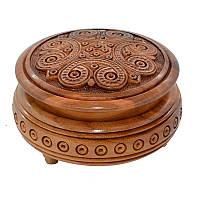 Шкатулка круглая, резная 22, фото 1
