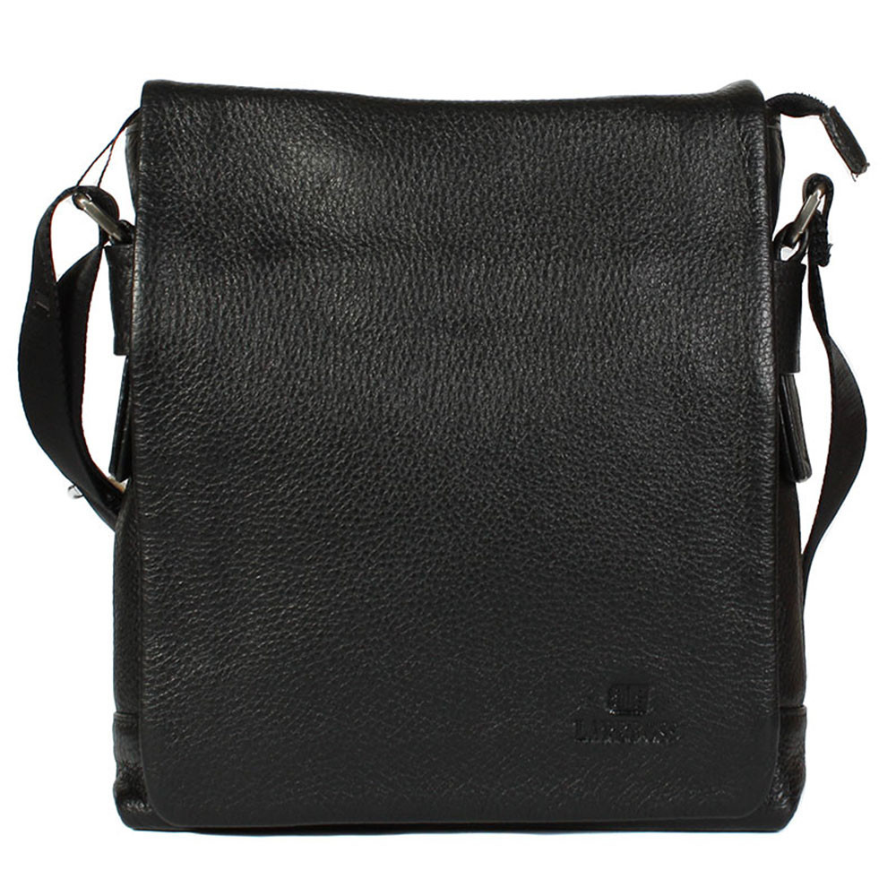 34cfe171c4a6 Повседневная мужская сумка из натуральной кожи через плечо черная Lare Boss  Italy LB0078181-41