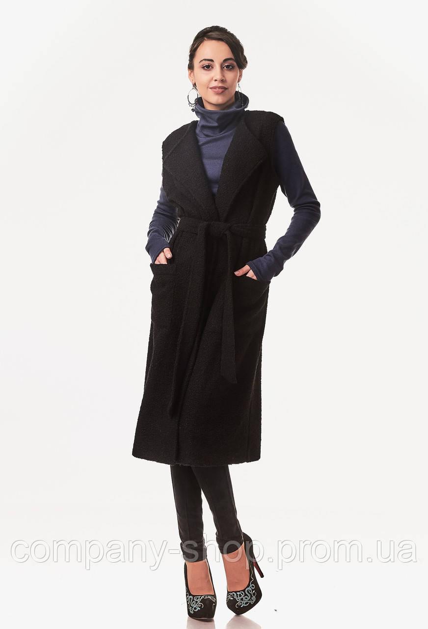 Женский удлиненный жилет букле. Модель Ж004_букле черный.