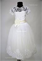 Платье детское нарядное Валерия бархат белое 6-7 лет