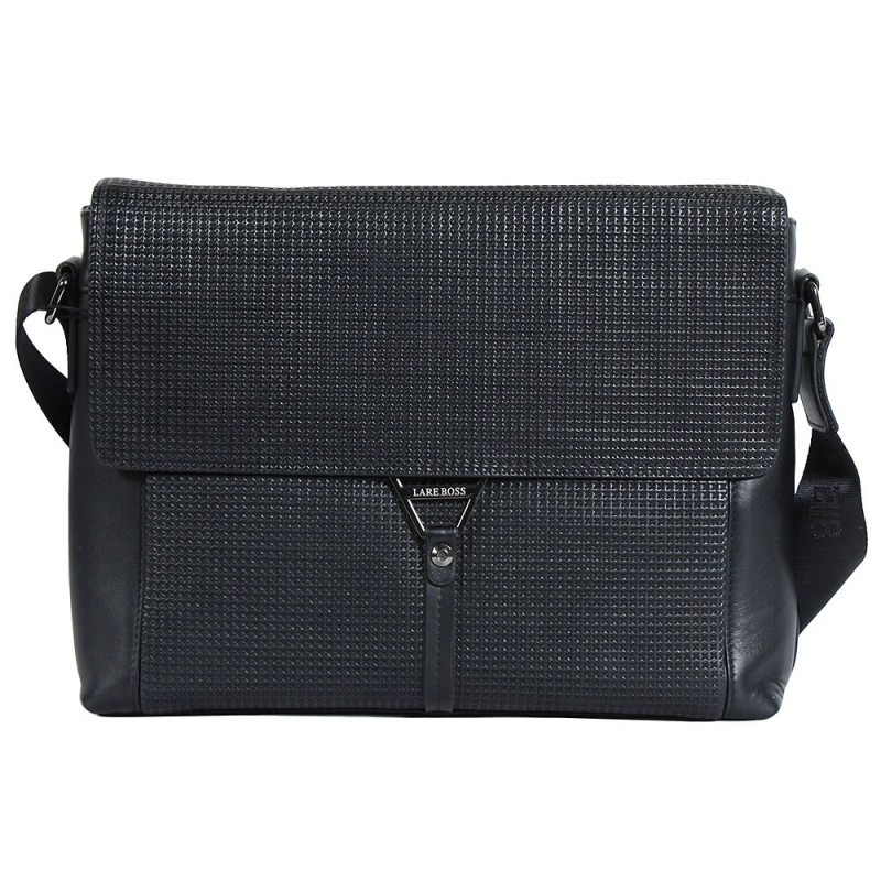 2ec955328874 Деловая мужская кожаная сумка формата А4 черная (Италия) Lare Boss  LB008108-31 -