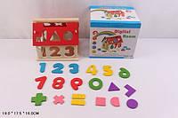 Игрушка Деревянная логика домик-сортер, с цифрами, знаками, 691-47