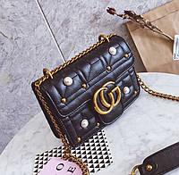 Новинка! Стильная женская сумка Gucci GG Marmont с бусинками черного цвета