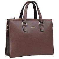Элегантный мужской портфель из первоклассной натуральной кожи коричневый Wolf Family WF0057009-21