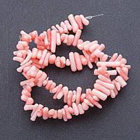 Бусины натуральный Коралл розовый веточки на нитке  d-3мм, L- 39см