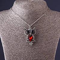 Подвеска на цепочке Сова 4,5см   красный кристалл , L-50см