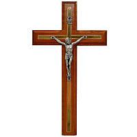 Резной крест 02,  черешня, серебро