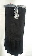 Женские черные перчатки с меховой опушкой