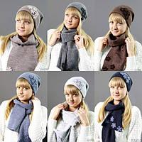 Вязаный женский комплект:шапка+шарф №2104