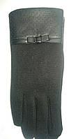 Женские черные перчатки  с кожаной вставкой